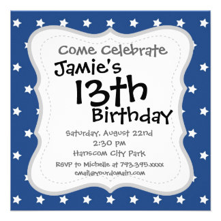 4th Of July White Stars on Navy Background Pattern Personalized Invitations