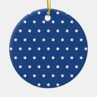4th Of July White Stars on Navy Background Pattern Christmas Tree Ornament