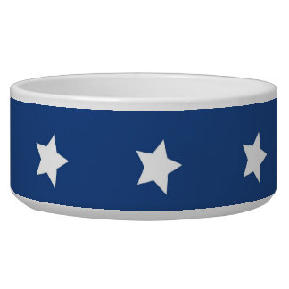 4th Of July White Stars on Navy Background Pattern Pet Food Bowls