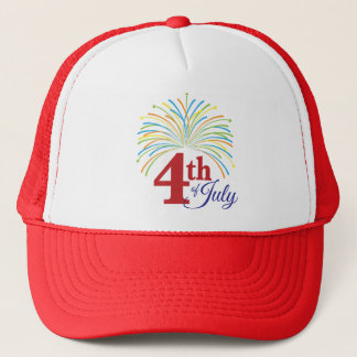 4th of July with Colorful Fireworks Trucker Hat
