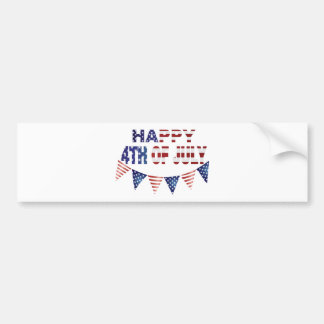 4th Of July with Red Blue and White Banner Flags Car Bumper Sticker