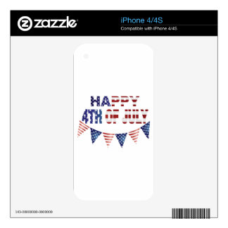 4th Of July with Red Blue and White Banner Flags Decals For iPhone 4S
