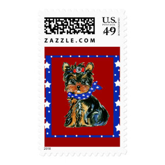 4th of July Yorkie Poo Postage Stamps