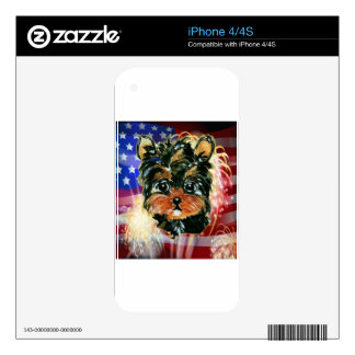 4th of July YORKIE POO iPhone 4S Decal