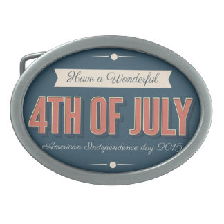 4th os July Oval Belt Buckle