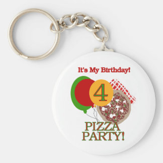 4th Pizza Party Birthday Tshirts and Gifts Basic Round Button Keychain
