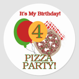 4th Pizza Party Birthday Tshirts and Gifts Classic Round Sticker