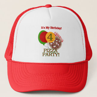 4th Pizza Party Birthday Tshirts and Gifts Trucker Hat
