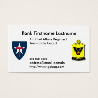 4th Regt TXSG Business Card