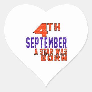4th September a star was born Heart Sticker