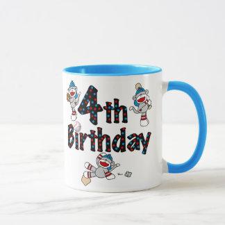 4th Sock Monkey Baseball Birthday Mug