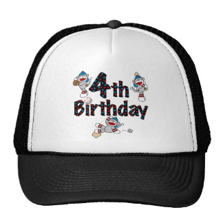 4th Sock Monkey Baseball Birthday Trucker Hat