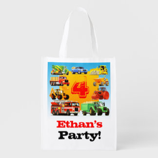 4th Truck Birthday Party Reusable Grocery Bags