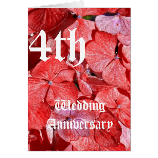 4th Wedding Anniversary Card