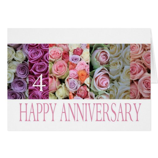 Th wedding anniversary card pastel roses zazzle