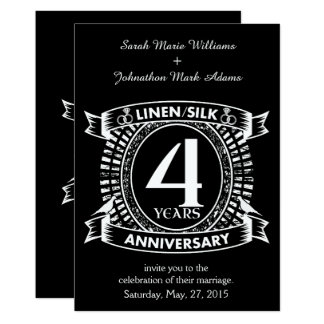 4th wedding anniversary distressed crest card