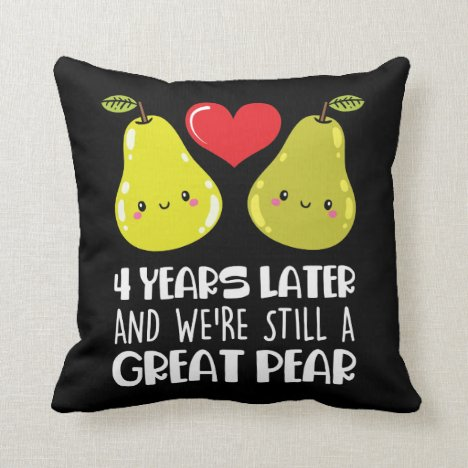 4th Wedding Anniversary Gift Married Couple Pear Throw Pillow