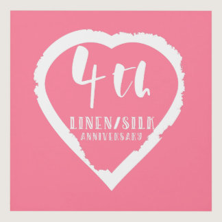 4TH Wedding Anniversary Linen Slik Panel Wall Art