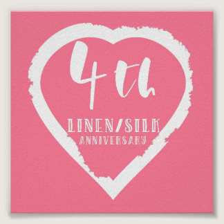 4TH Wedding Anniversary Linen Slik Poster
