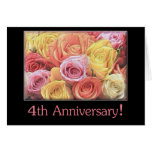 4th Wedding Anniversary mixed rose bouquet Card