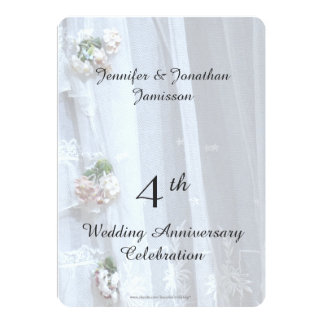 4th Wedding Anniversary Party, Vintage Lace Card