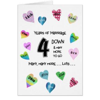 4to aniversario de los corazones felices tarjeta de felicitación