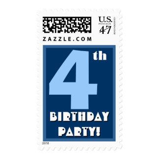 4to Azul intrépido de la fiesta de cumpleaños y Sello Postal