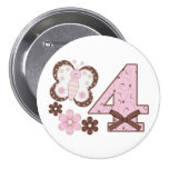 4to botón del cumpleaños de la mariposa rosada pin