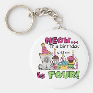 4to Camisetas y regalos del cumpleaños del gatito Llavero Redondo Tipo Pin