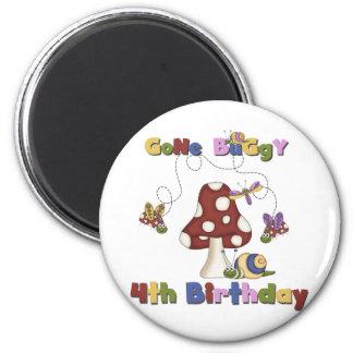 4to Camisetas y regalos del cumpleaños del insecto Imán Redondo 5 Cm