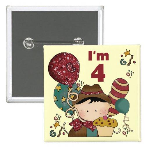 4to Camisetas y regalos del vaquero del cumpleaños Pins