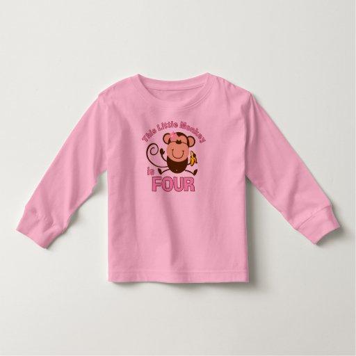 4to chica del cumpleaños del pequeño mono t shirt