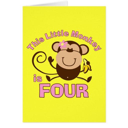 4to chica del cumpleaños del pequeño mono tarjeta de felicitación