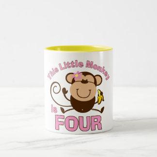4to chica del cumpleaños del pequeño mono tazas