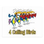 4to cuarto día de cuatro pájaros de llamada de nav postales