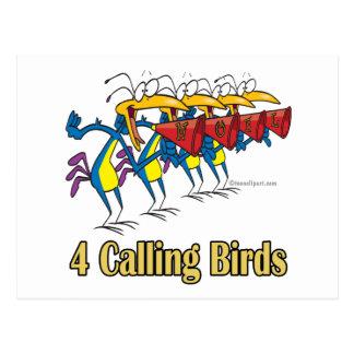 4to cuarto día de cuatro pájaros de llamada de postales