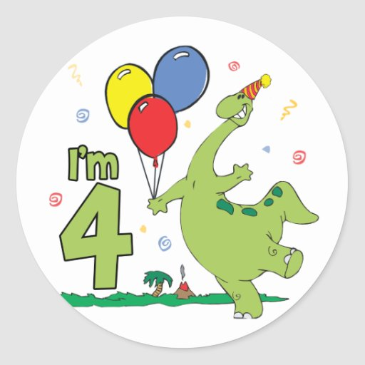 4to cumpleaños de Dino Pegatina Redonda