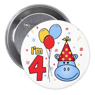 4to cumpleaños de la cara azul del hipopótamo pin redondo de 3 pulgadas