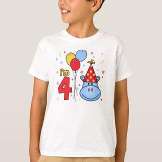 4to cumpleaños de la cara azul del hipopótamo playera