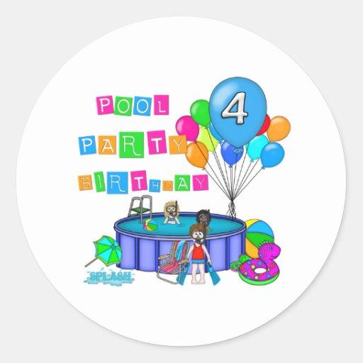 4to cumpleaños de la fiesta en la piscina pegatinas redondas