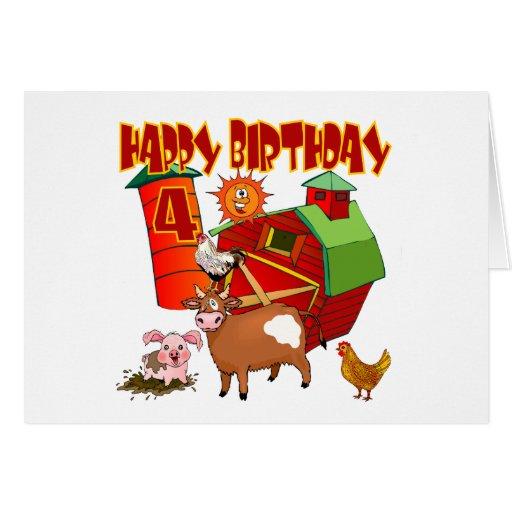 4to Cumpleaños de la granja del cumpleaños Tarjeta De Felicitación