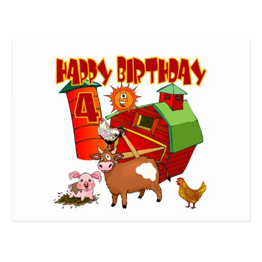 4to Cumpleaños de la granja del cumpleaños Tarjetas Postales