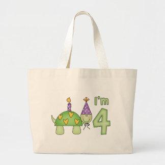 4to cumpleaños de la pequeña tortuga bolsa tela grande