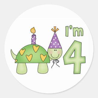 4to cumpleaños de la pequeña tortuga etiqueta