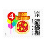 4to Cumpleaños de la pizza del cumpleaños Franqueo