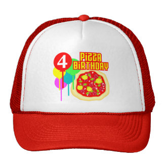 4to Cumpleaños de la pizza del cumpleaños Gorro De Camionero