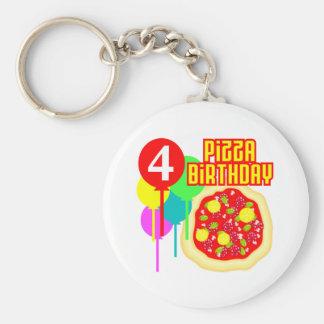 4to Cumpleaños de la pizza del cumpleaños Llavero Redondo Tipo Pin
