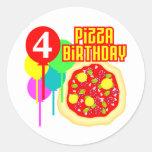 4to Cumpleaños de la pizza del cumpleaños Etiqueta Redonda