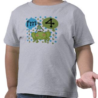 4to cumpleaños de la rana azul camiseta