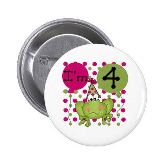 4to cumpleaños de la rana rosada pins